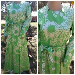 Vintage Green Silver Floral Dress - OFFERS WELCOME